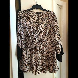 Pink leopard blouse.  Size 14/16